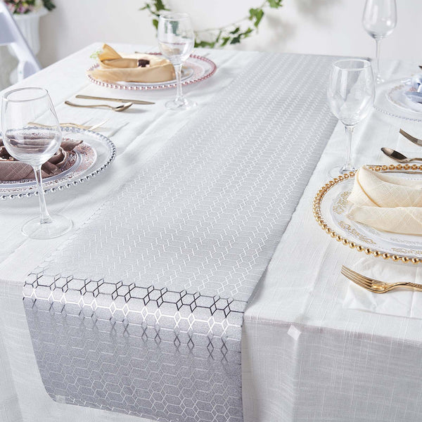 9Ft Silver Glitter Paper Table Runner Roll, Disposable Table Runner with Geometric Honeycomb Design