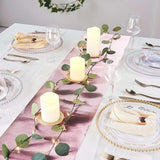 1Ft x 9Ft Disposable Glitter Paper Table Runner with Ridge Pattern - Rose Gold | Blush
