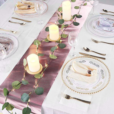 9Ft Glitzing Table Runner, Disposable Glitter Paper Table Runner with Strip Pattern - Rose Gold | Blush