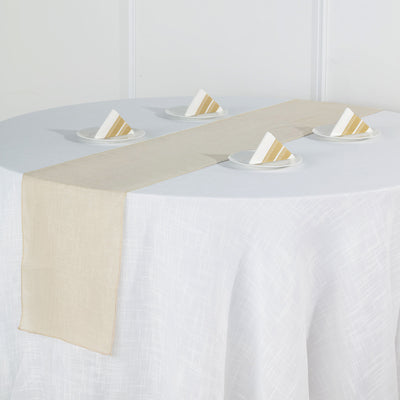12x108 Beige Linen Table Runner, Slubby Textured Wrinkle Resistant Table Runner