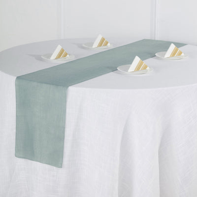 12x108 Dusty Blue Linen Table Runner, Slubby Textured Wrinkle Resistant Table Runner