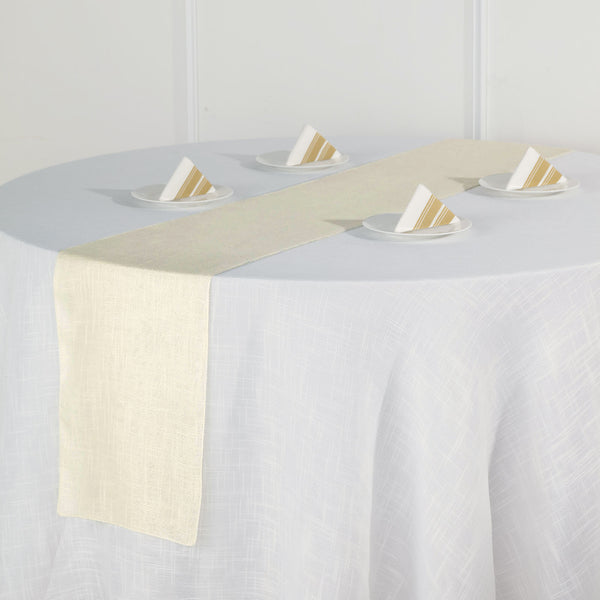 "12""x108"" Ivory Linen Table Runner, Slubby Textured Wrinkle Resistant Table Runner"