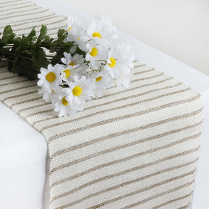 CHAMBURY CASA Rustic Burlap Runner w/ Stripes - Natural