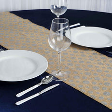 Natural Burlap Table Runner With Silver Polka Dots