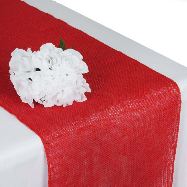 "14""x108"" Red Rustic Burlap Table Runner"