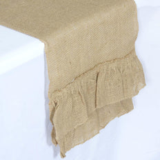 Ruffled Rustic Burlap Runner - Natural