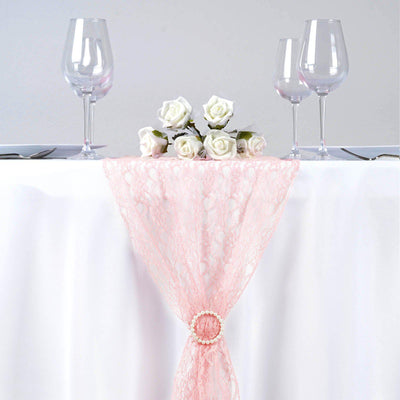 12inch x 108inch Floral Lace Table Runner - Rose Gold | Blush