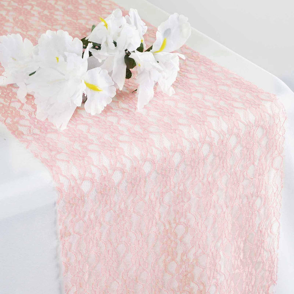 12 X 108 Floral Lace Table Runner Tableclothsfactory