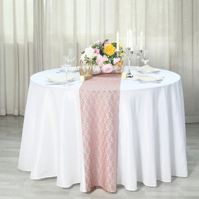 "12"" x 108"" Dusty Rose Floral Lace Table Runner"