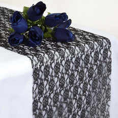 "12"" x 108"" Black Floral Lace Table Runner"