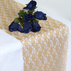 "12"" x 108"" Gold Floral Lace Table Runner"