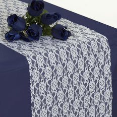 "12"" x 108"" Ivory Floral Lace Table Runner"