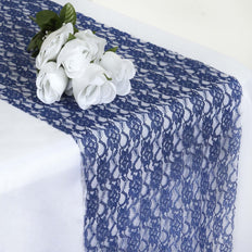 "12"" x 108"" Navy Blue Floral Lace Table Runner"