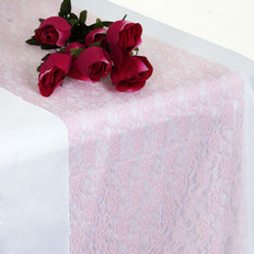 "12"" x 108"" Pink Floral Lace Table Runner"