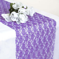 "12"" x 108"" Purple Floral Lace Table Runner"