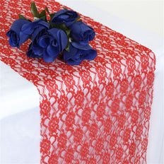 "12"" x 108"" Red Floral Lace Table Runner"