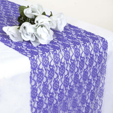 "12"" x 108"" Royal Blue Floral Lace Table Runner"