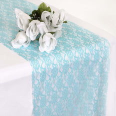 "12"" x 108"" Turquoise Floral Lace Table Runner"