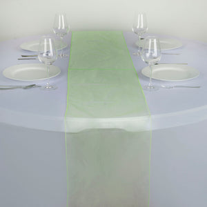 "14"" x 108"" Apple Green Organza Runner For Table Top Wedding Catering Party Decoration"