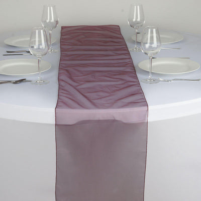 Table Runner Organza - Burgundy