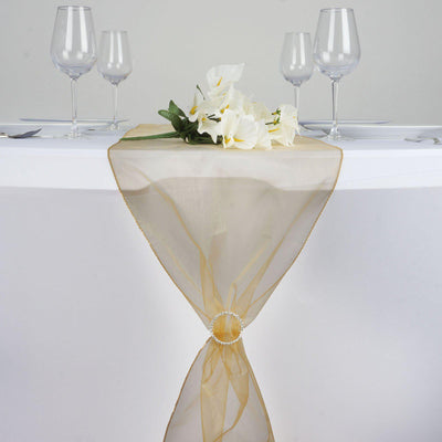 "14"" x 108"" Gold Seamless Organza Table Runners"