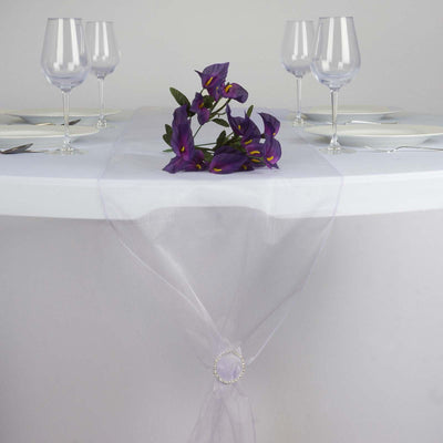 "14"" x 108"" Lavender Organza Runner For Table Top Wedding Catering Party Decoration"
