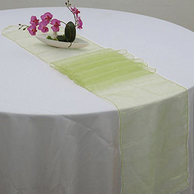 "14"" x 108"" Sage Green Organza Runner For Table Top Wedding Catering Party Decoration - Clearance SALE"