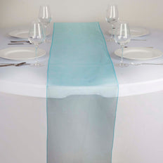"14"" x 108"" Turquoise Organza Runner For Table Top Wedding Catering Party Decoration"