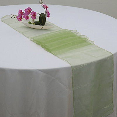 "14"" x 108"" Moss Green Organza Runner For Table Top Wedding Catering Party Decoration"