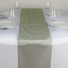Table Runner Organza - Willow Green