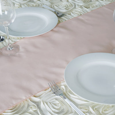 "12""x108"" Blush Polyester Table Runner"