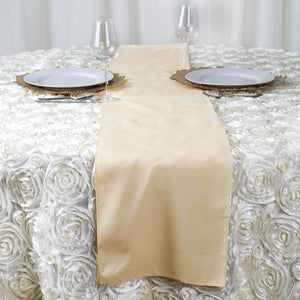 "12""x108"" Beige Polyester Table Runner"