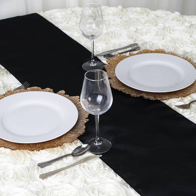 BLACK Polyester Runner - Table Top Wedding Catering Party Decorations - 12x108""