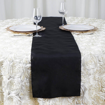 "12""x108"" Black Polyester Table Runner"