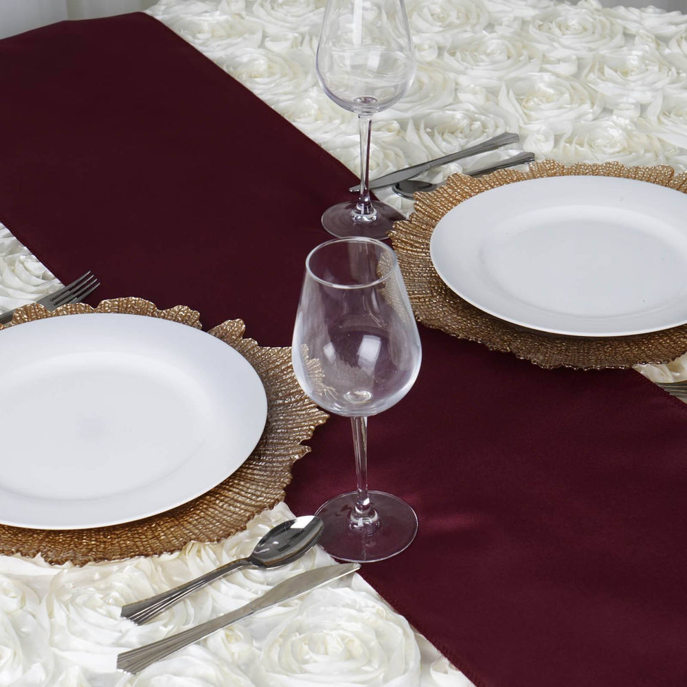 ... BURGUNDY Polyester Runner   Table Top Wedding Catering Party Decorations