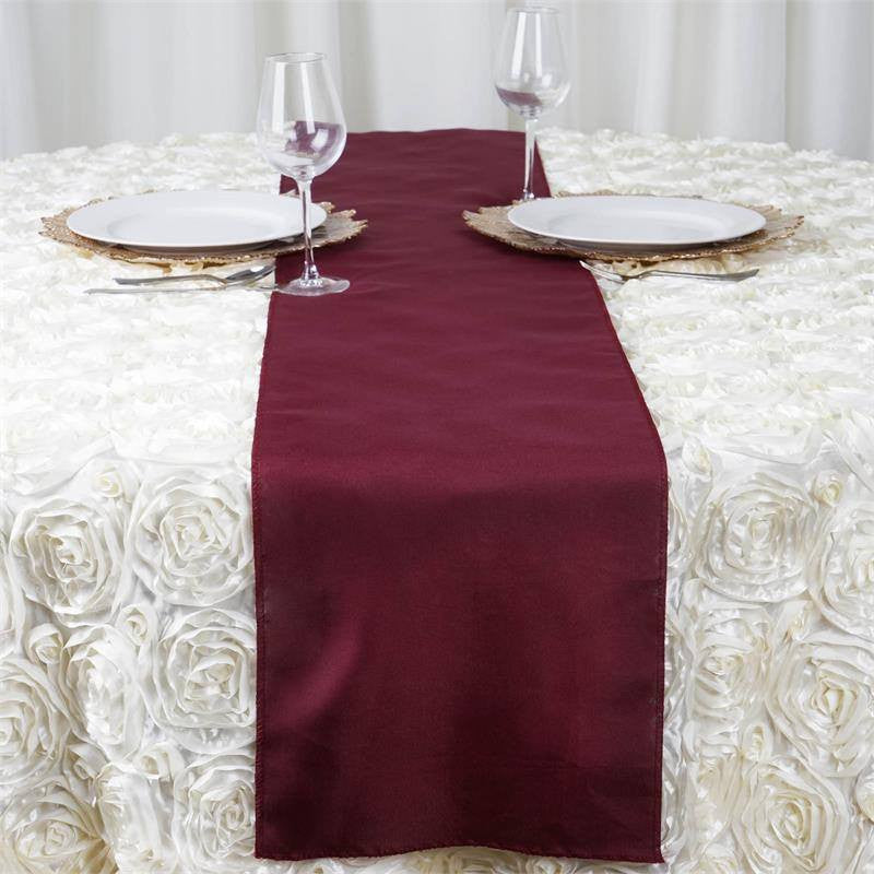 ... BURGUNDY Polyester Runner - Table Top Wedding Catering Party Decorations  ... 523df91d8d57