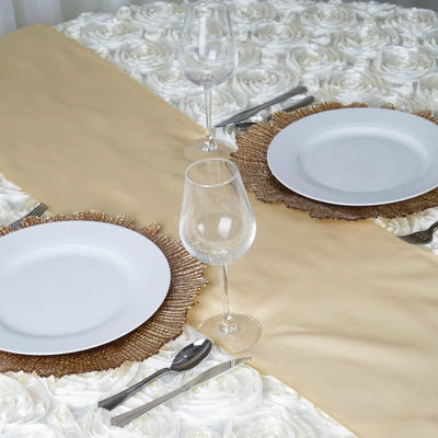 CHAMPAGNE Polyester Runner - Table Top Wedding Catering Party Decorations - 12x108""