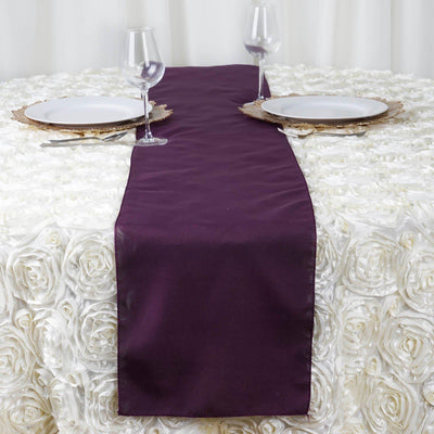 "12""x108"" Eggplant Polyester Table Runner"