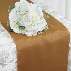 "12""x108"" Gold Polyester Table Runner"