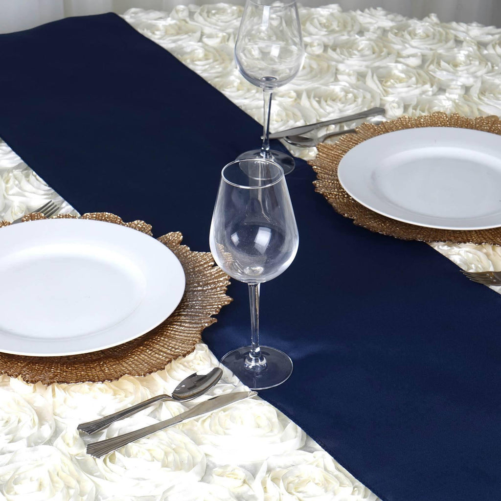 12x108 Navy Blue Polyester Table Runner Tablecloths