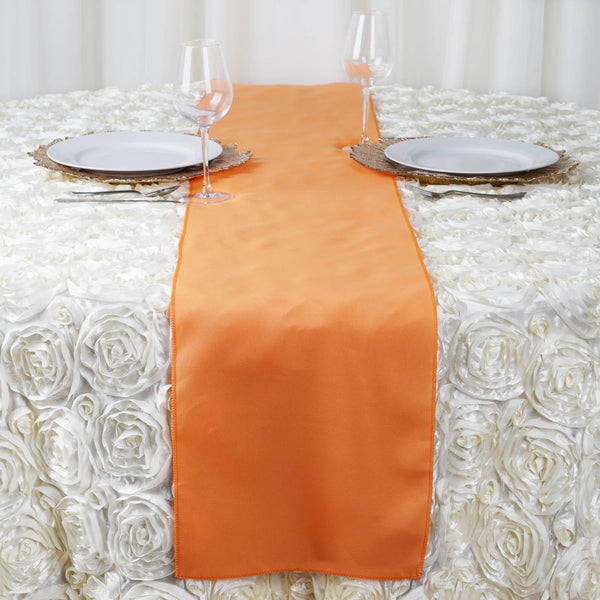 "12""x108"" Orange Polyester Table Runner"