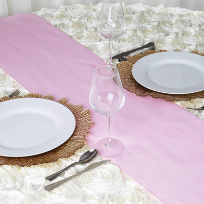 PINK Polyester Runner - Table Top Wedding Catering Party Decorations - 12x108""
