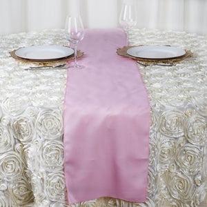 "12""x108"" Pink Polyester Table Runner"