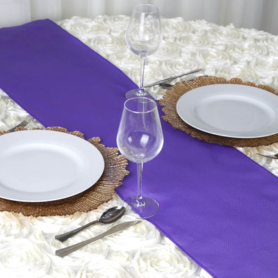 PURPLE Polyester Runner - Table Top Wedding Catering Party Decorations - 12x108""