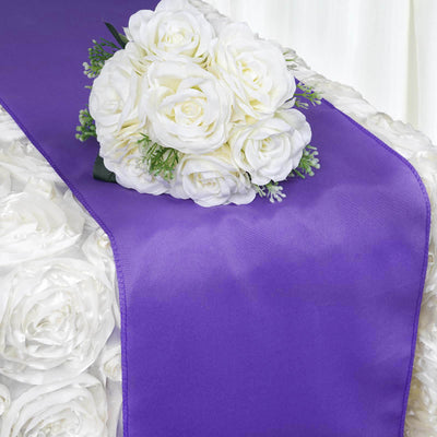 "12""x108"" Purple Polyester Table Runner"
