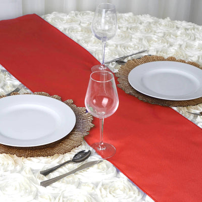 RED Polyester Runner - Table Top Wedding Catering Party Decorations - 12x108""
