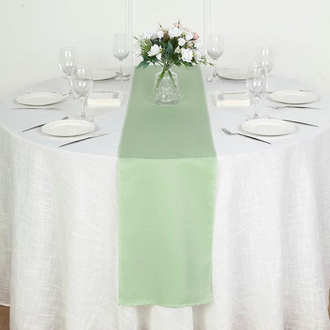 Sage green polyester runner table top wedding catering party sage green polyester runner table top wedding catering party decorations 12x108 junglespirit Images