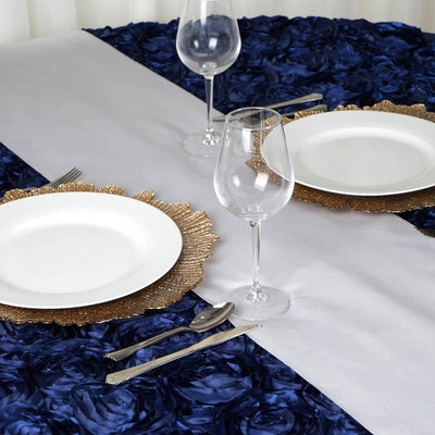 SILVER Polyester Runner - Table Top Wedding Catering Party Decorations - 12x108""