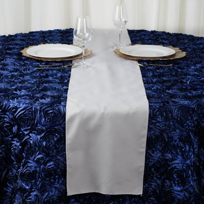 "12""x108"" Silver Polyester Table Runner"
