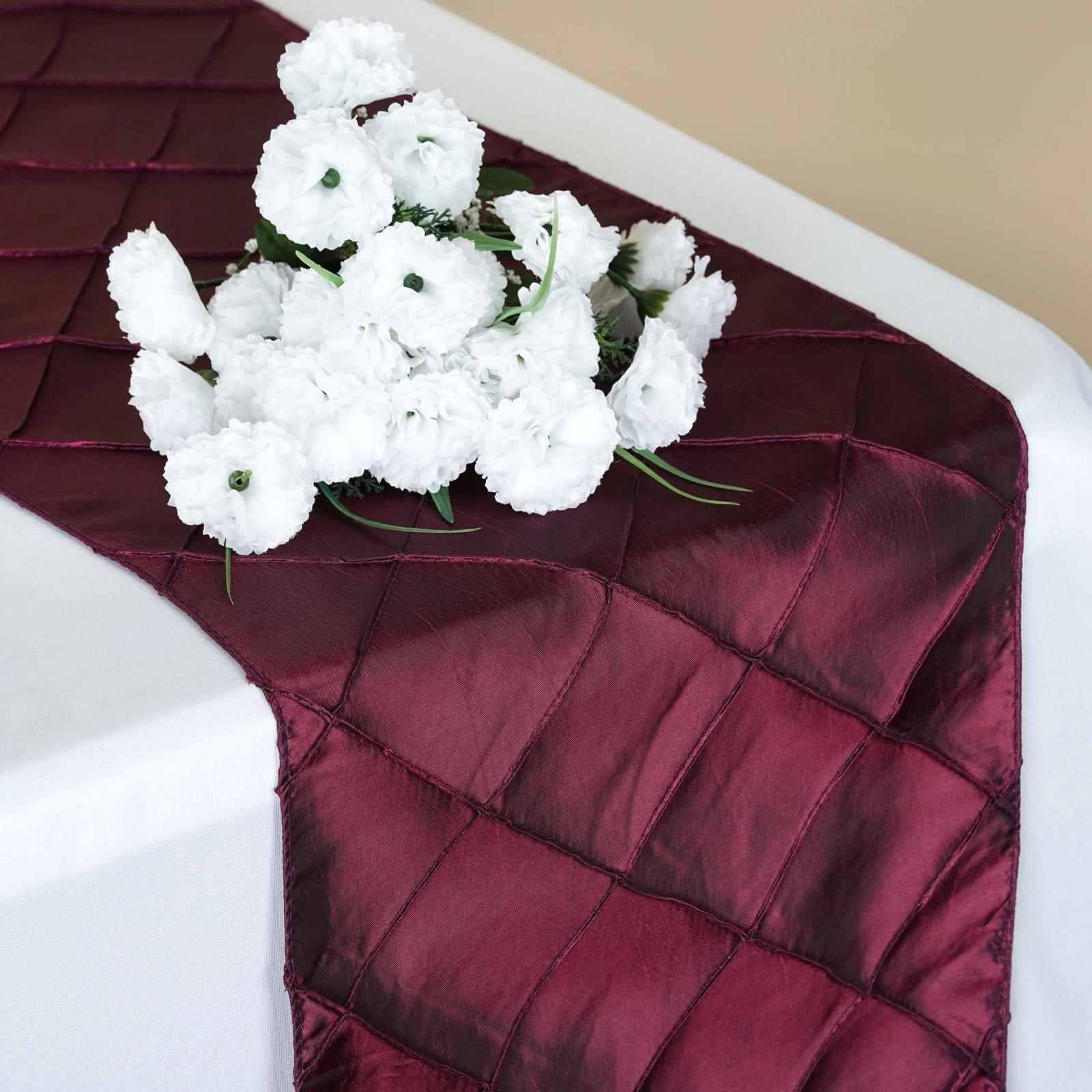 Charmant Table Runner Pintuck   Burgundy ...